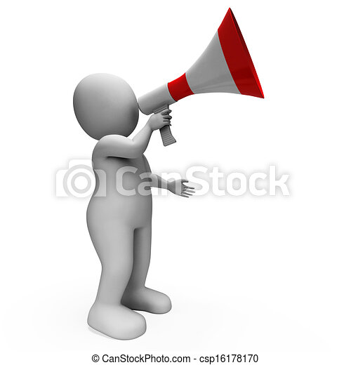 Megaphone Character Showing Announcements Proclaiming And Announcing - csp16178170