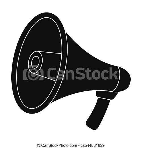 Megaphone icon in black style isolated on white background. Police symbol stock vector illustration. - csp44861639
