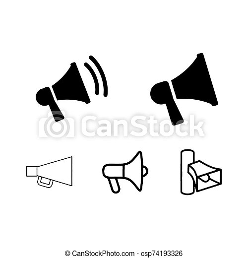 megaphone icons set loudspeaker vector graphics white background can stock photo