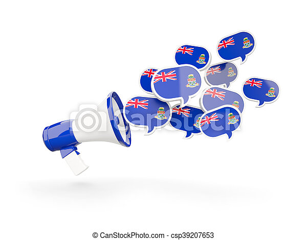 Megaphone with flag of cayman islands - csp39207653