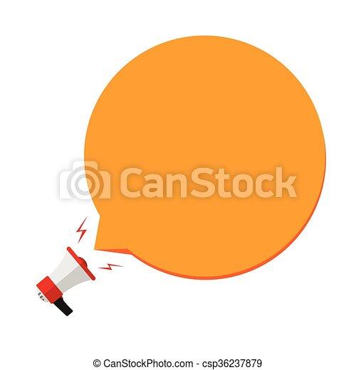 Megaphone with orange speech bubble template for text flat megaphone with orange speech bubble template csp36237879 publicscrutiny Gallery