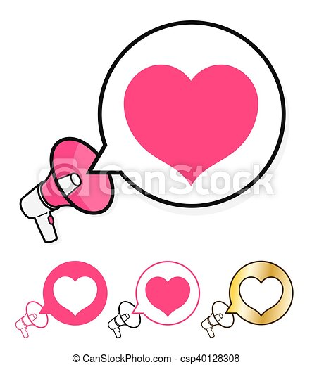Megaphone with speech bubble and heart - csp40128308
