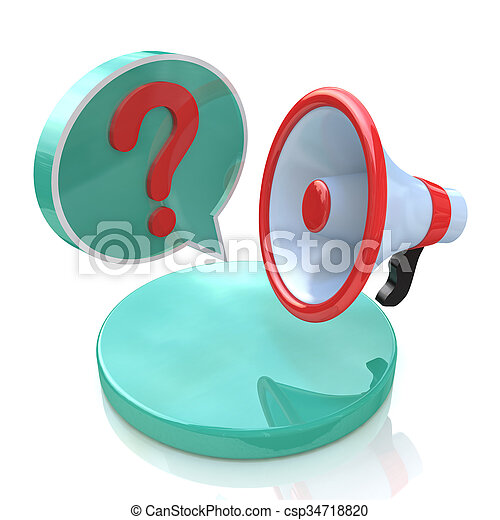 Megaphone with Speech Bubble and Question mark - csp34718820