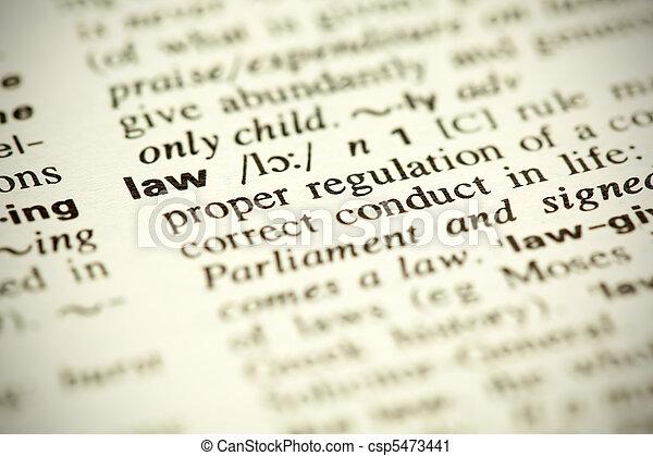 """meghatározás, szó, szótár, """"law"""" - csp5473441"""