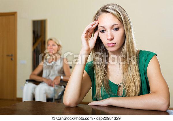 meghibásodott, személy, nő, fáradt - csp22984329