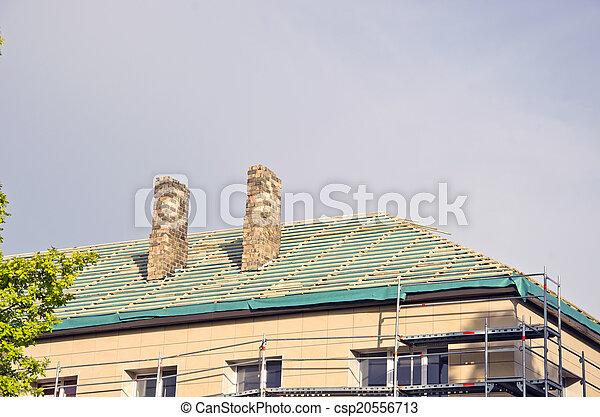 megjavítás, öreg, épület, tető, restaurálás, szerkesztés - csp20556713