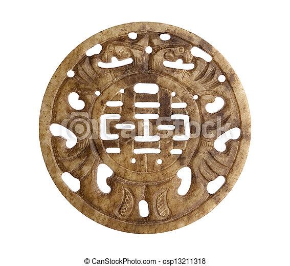 megkövez, jó, jelkép, kínai, szerencse - csp13211318