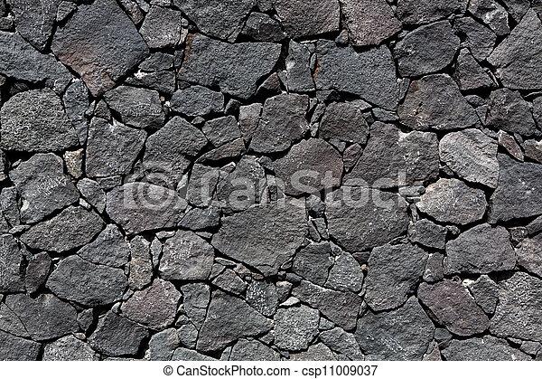 megkövez, vulkanikus, fal, láva, fekete, kőművesség - csp11009037