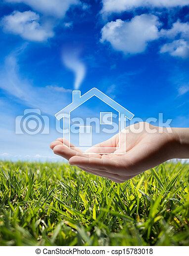 megvesz, épület, -, kéz, otthon, ikon - csp15783018