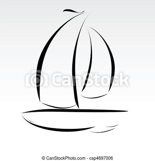 megvonalaz, csónakázik, ábra - csp4697006