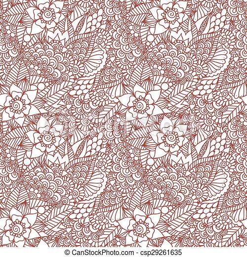 Mehndi Henna Design Seamless Ethnic Doodle Seamless Pattern Mehndi