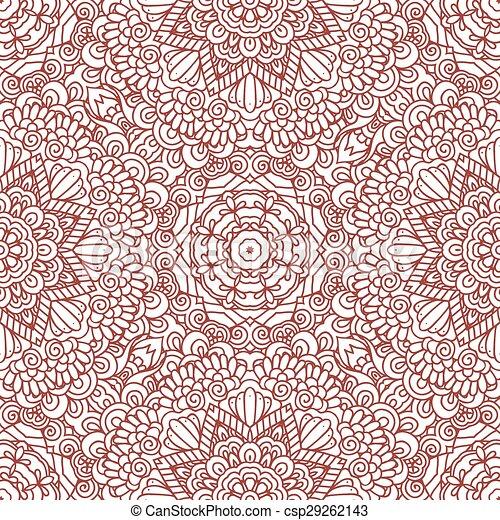 Mehndi Henna Design Seamless Patter Ethnic Doodle Seamless Pattern