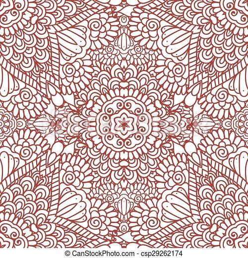 Mehndi Henna Design Seamless Pattern Ethnic Doodle Seamless Pattern