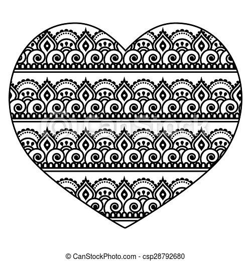 mehndi herz indische henna muster herz stil begriff liebe verzierung traditionelle. Black Bedroom Furniture Sets. Home Design Ideas