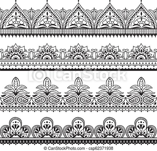 Mehndi Indian Design Henna Oriental Seamless Borders Indian Floral