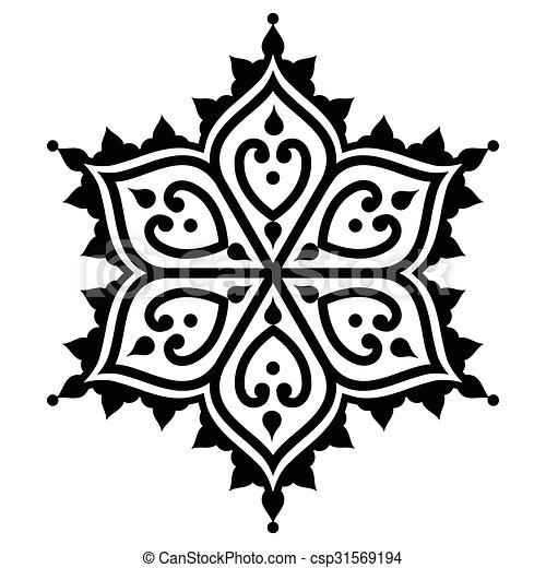 Mehndi Indian Henna Design Vector Black Design Element Orient