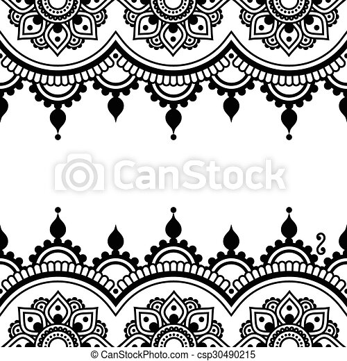 Mehndi Indian Henna Tattoo Design Vector Border Ornament Orient