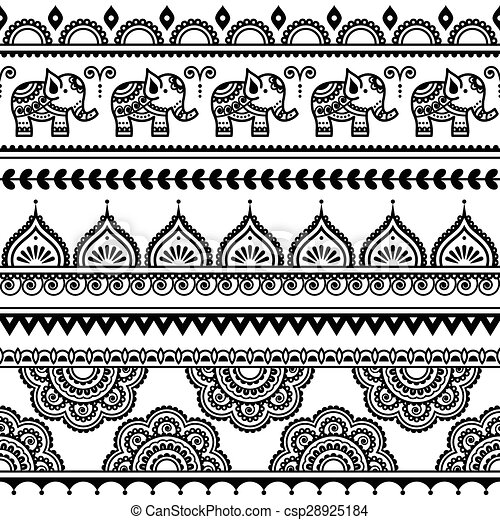 Mehndi, patrón indio sin costura - csp28925184
