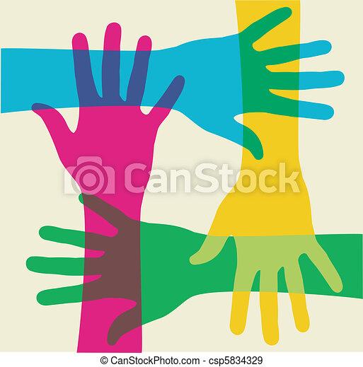 Mehrfarbige Teamwork-Hände - csp5834329