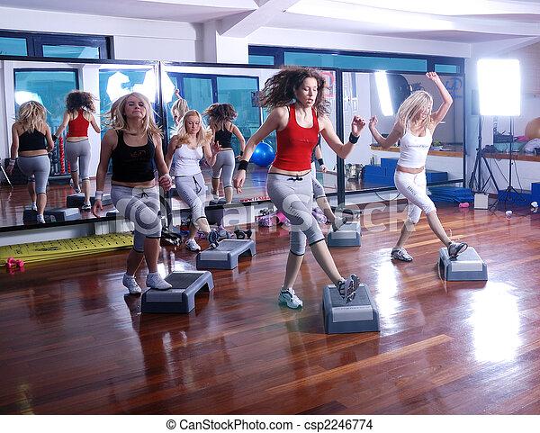 meiden, centrum, het schrijden, fitness - csp2246774