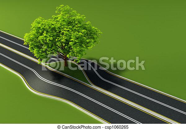 meio, árvore, estrada - csp1060265