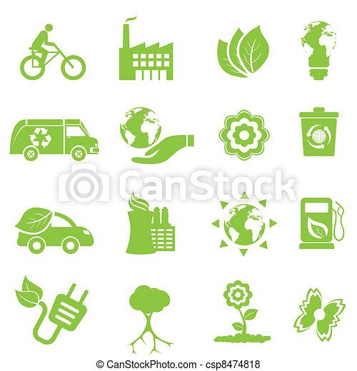 meio ambiente, ecologia, ícones - csp8474818