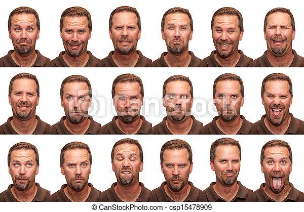 meio, expressões, envelhecido, -, homem - csp15478909