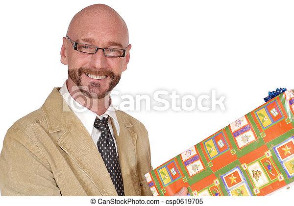 meio, promoção, envelhecido, atraente, homem negócios - csp0619705