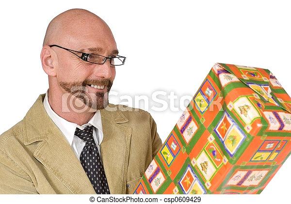 meio, promoção, envelhecido, atraente, homem negócios - csp0609429