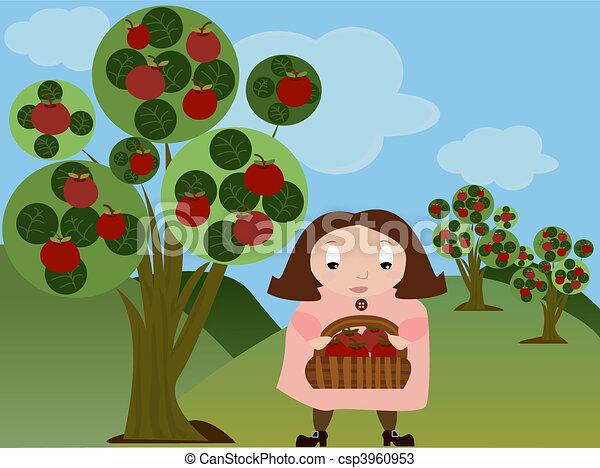 meisje, appel boomgaard - csp3960953