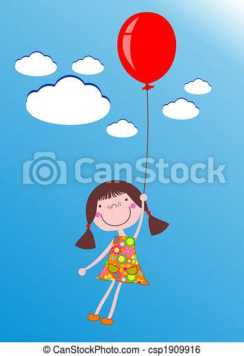 meisje, balloon - csp1909916