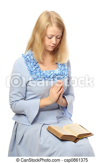 meisje, biddend, bijbel - csp0861375