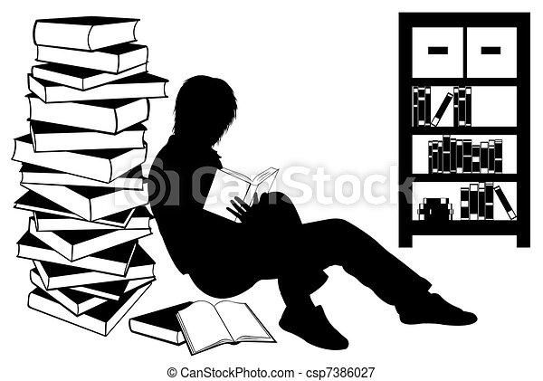 meisje, boek, silhouette, lezende  - csp7386027
