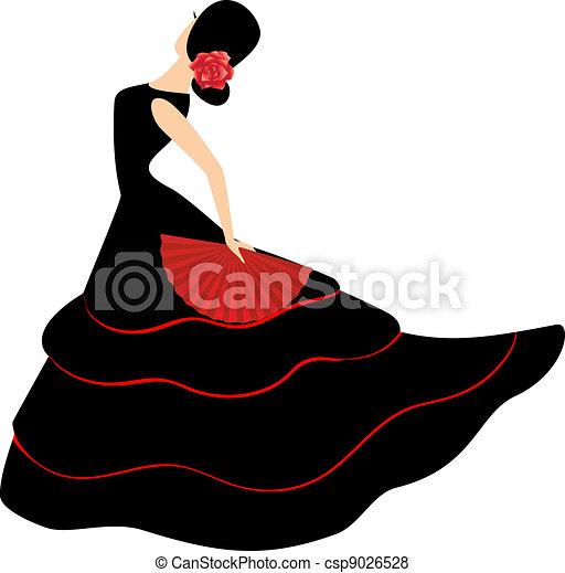 meisje, flamenco, ventilator, dancer., spaanse  - csp9026528