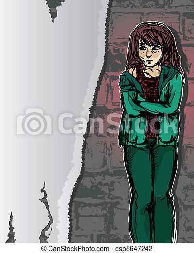 meisje, nood - csp8647242