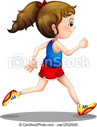 meisje, rennende , jonge - csp12532526