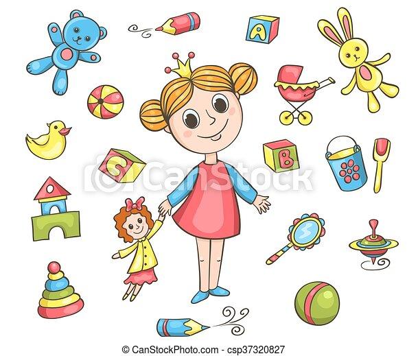 meisje, set, speelgoed - csp37320827