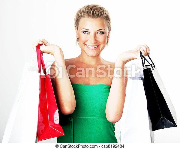 meisje, shoppen , vrolijke  - csp8192484