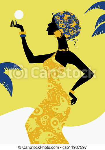 meisje, silhouette, afrikaan - csp11987597