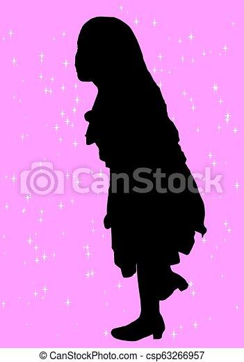 meisje, silhouette - csp63266957