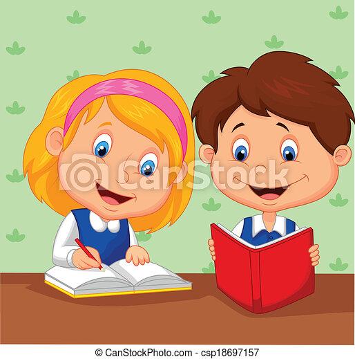 meisje, spotprent, jongen, samen, studeren - csp18697157
