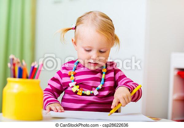 meisje, toddler, tekening - csp28622636