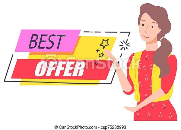 mejor, oferta, captura, ofrecimiento, niña, feliz, descuento - csp75238993