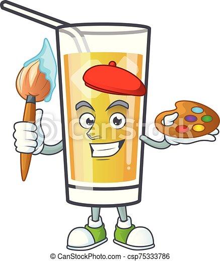 mela, dolce, cartone animato, pittore, sidro, mascotte - csp75333786
