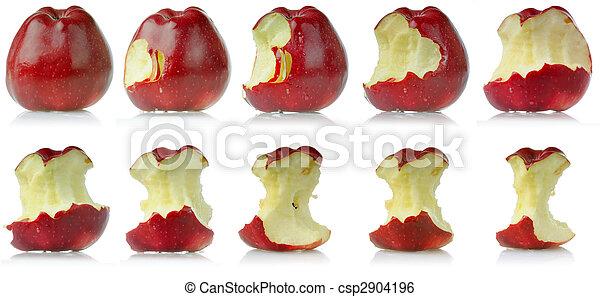 mela, mangiato, sequenza - csp2904196