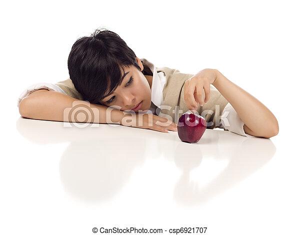melancolia, maçã, sentando, apple., -, isolado, fundo, foco, raça, adulto, femininas, jovem, misturado, tabela, branca - csp6921707