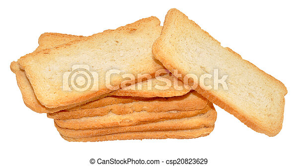 Melba Toast Stack Of Crispy Isolated On A White