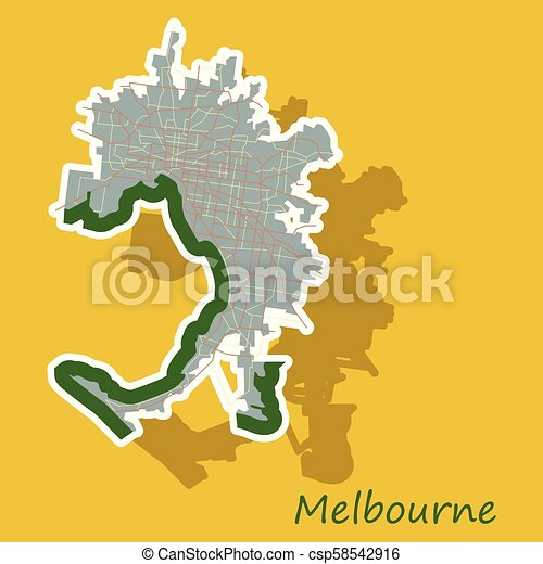 Melbourne Australia World Map.Melbourne Australia Map In Retro Style Sticker Illustration
