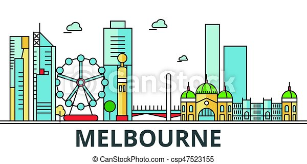 Melbourne city skyline, Buildings, streets, silhouette, architecture, landscape, panorama, landmarks. Editable strokes. Flat design line vector illustration concept. Isolated icons on white background - csp47523155