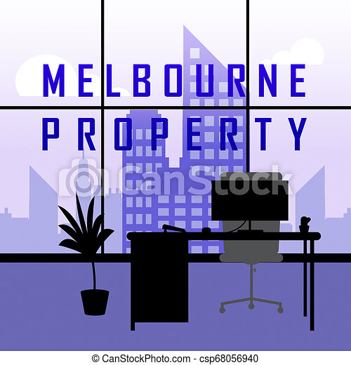 Melbourne Real Estate Property City Representing Australian Realty In Victoria - 3d Illustration - csp68056940